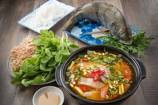 ryba, polévka, zelenina, jídlo